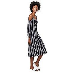 Warehouse - Stripe cold shoulder dress