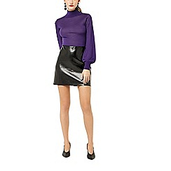 Warehouse - Faux leather patent skirt