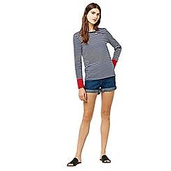 Warehouse - Contrast cuff stripe top