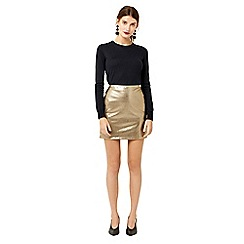Warehouse - Metallic faux leather skirt