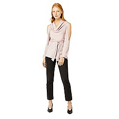 Warehouse - Light pink satin cowl neck top