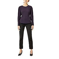 Warehouse - Dark purple puff sleeves top