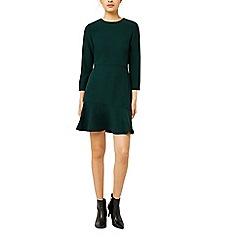 Warehouse - Peplum hem long sleeve dress