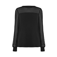 Warehouse - Sheer sleeves woven mix top