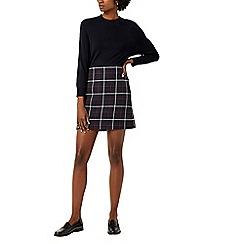 Warehouse - Navy check pelmet skirt
