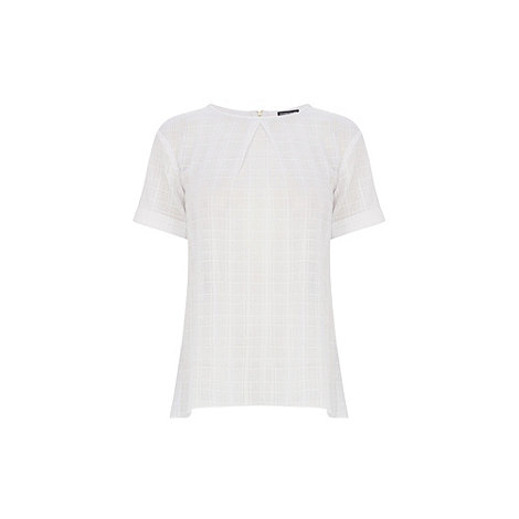 Warehouse - Textured check boyfriend top