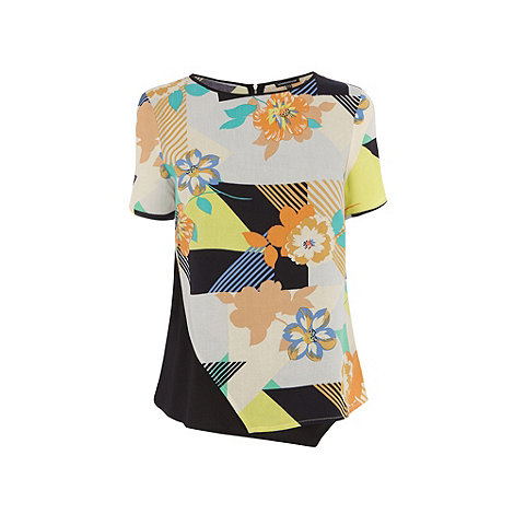 Warehouse - 80s floral asymetric tee-shirt