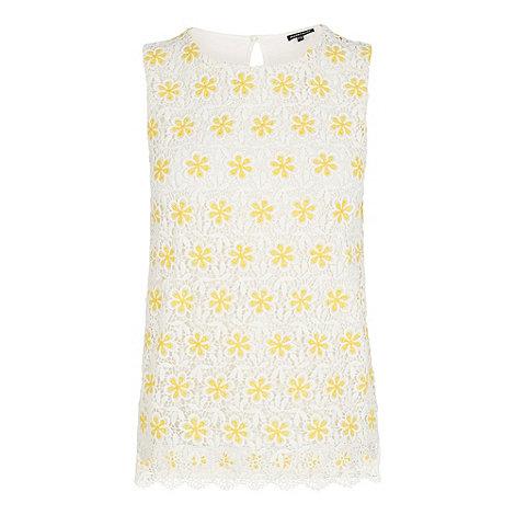 Warehouse - Two tone daisy lace shell