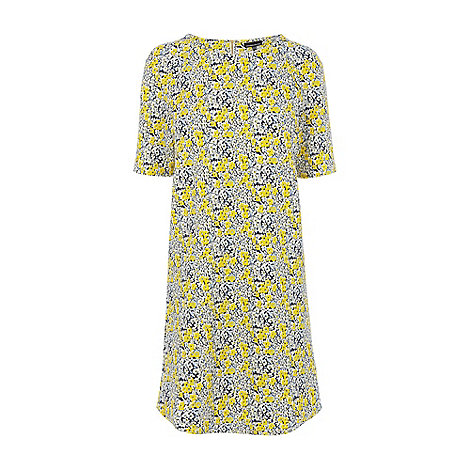 Warehouse - Floral textured crepe shift dress
