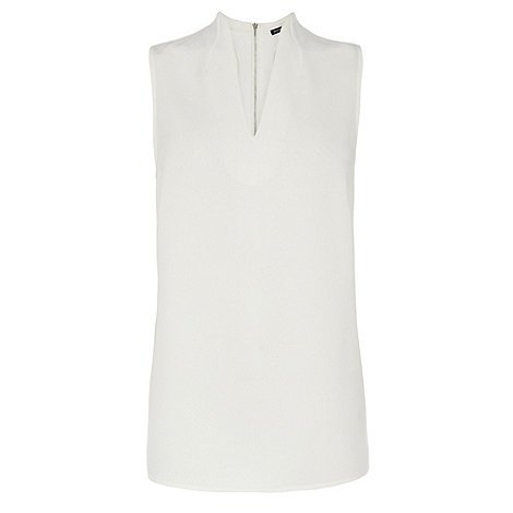 Warehouse - Funnel neck zip back shell top