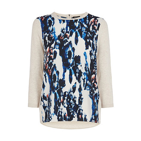 Warehouse - Smudgy print woven front jumper