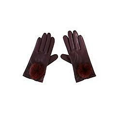 Coast - Pom pom leather gloves