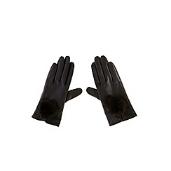 Coast - Pom pom leather gloves