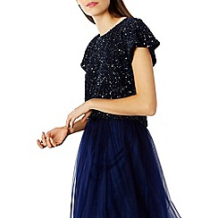 Coast - Navy sequin cut out top