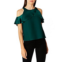 Coast - Forest 'Krissi' high neck short sleeves cold shoulder top
