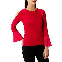 Coast - Pink 'Rosie' Cold Shoulder Frill Sleeves Knit Top
