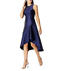 Coast - Navy satin 'Cara' high neck high low shift dress