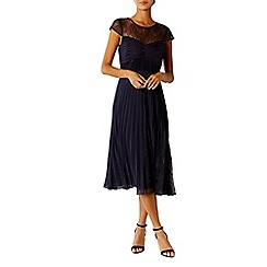 Coast - Navy lace 'Cleo' round neck cap sleeved midi bridesmaid dress