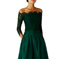 Coast - Forest green 'Marr' lace bardot neckline bridesmaid top