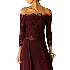 Coast - Merlot  'Marr' lace bardot neckline bridesmaid top