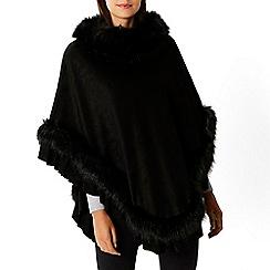 Coast - Black 'Mcwilliams' faux fur poncho