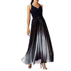 Coast - Navy metallic 'Roma' sweetheart neck pleated maxi dress