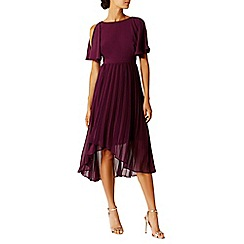 Coast - Merlot 'Hermione' Cold Shoulder Pleated High Low Bridesmaid Dress