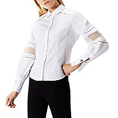 Coast - White 'Lowie' collared neck long volume sleeves shirt top