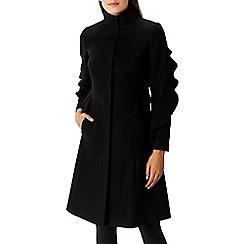 Coast - Black cashmere and wool blend 'Macey' ruffle coat