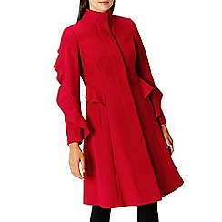 Coast - Red cashmere and wool blend 'Macey' ruffle coat