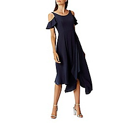Coast - Navy 'Livia' round neck cold shoulder midi dress