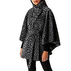 Coast - Grey leopard print 'Valera' cape coat