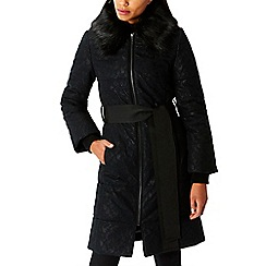 Coast - Black lace 'Cadee' faux fur collared neckline padded coat