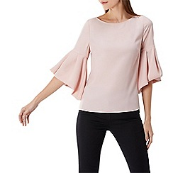 Coast - Blush 'Anais' round neck bell sleeved top