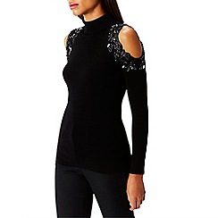 Coast - Black embellished 'Fallon' high neck long sleeved cold shoulder knit top