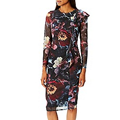 Coast - Debenhams Exclusive - multi'Foye' floral print long sleeves mesh shift dress