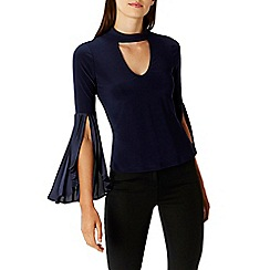 Coast - Navy 'Willow' choker neck pleated sleeves top