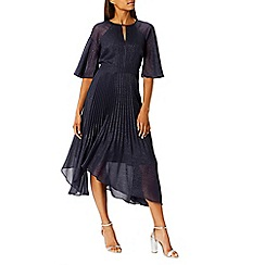Coast - Debenhams Exclusive - Navy 'Alice' shimmer pleated flared sleeves midi dress