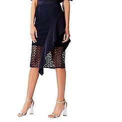 Coast - Navy mesh 'Anneliese' midi ruffle skirt