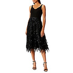 Coast - Debenhams Exclusive - Black sparkle 'Arabella' v-neck fit and flare dress