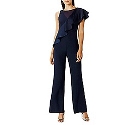 Coast - Navy 'Heidi' Frill Wide Leg Jumpsuit