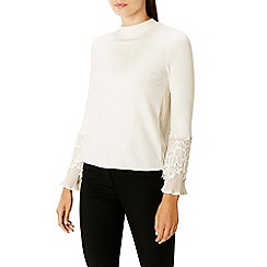 Coast - Ivory embroided lace 'Rose pleat' high neck long sleeved knit top