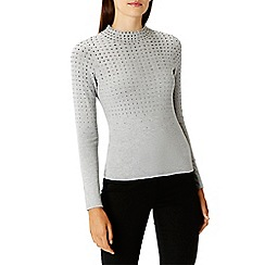 Coast - Grey wool and cotton blend 'Sadie hotfix' knit top