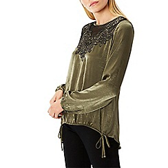 Coast - Olive embroidered 'reid' round neck long sleeved blouse top