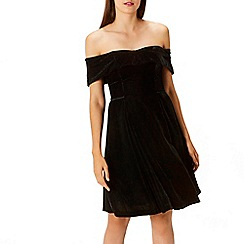 Coast - Black sparkle velvet 'Emilia' bardot fit and flare dress