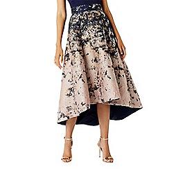Coast - Multi 'Azure' Marble Print Jacquard High Low Midi Skirt