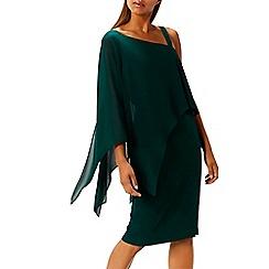 Coast - Forest drape 'Rae' asymmetric neck statement sleeves knee length shift dress