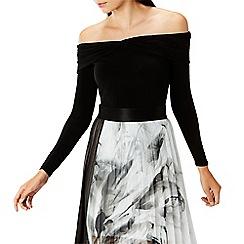 Coast - Black 'Tippi twist front' long sleeved bardot top
