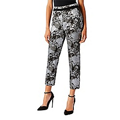 Coast - Multi floral print cotton blend jacquard 'nele' crop trousers
