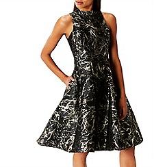 Coast - Multi marble print metallic jacquard 'Venus' fit & flare dress